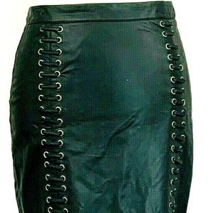 2B bebe Womens Leather Skirt Black Size Small